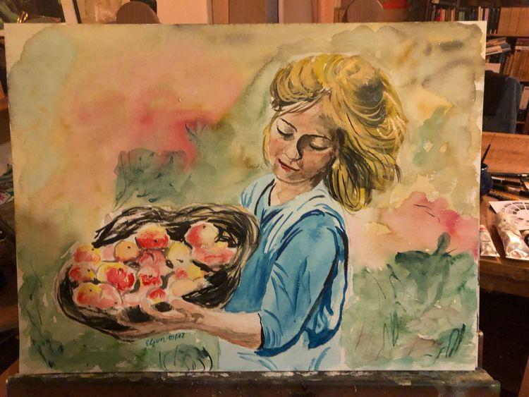 Herbst, Ernte, Aquarellmalerei, Apfel, Aquarell,