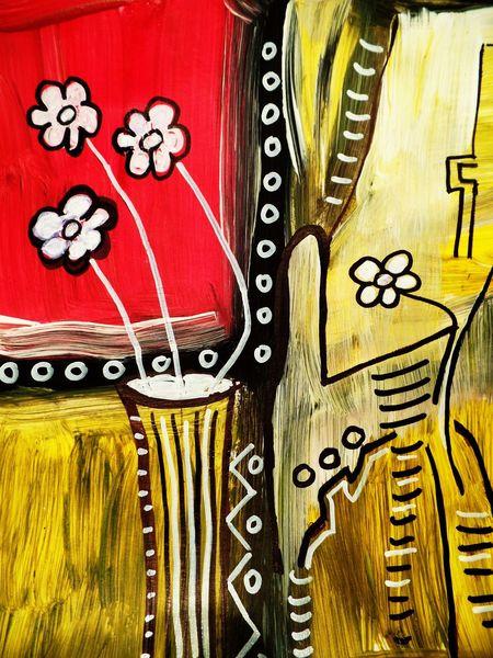 Abstrakt, Blumen, Malen, Vase, Malerei, 2015