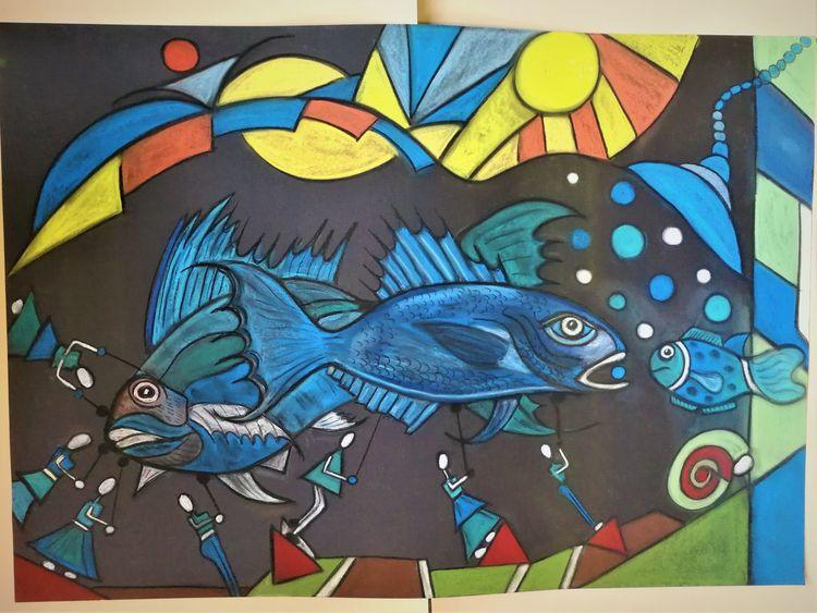 Wortlos, Fisch, Fantasie, Abstrakt, Bunt, Malerei