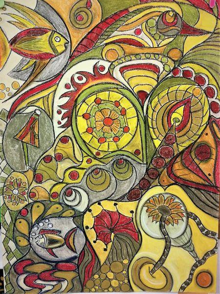 Rund, Blüte, Abstrakt, Bunt, Fisch, Malerei