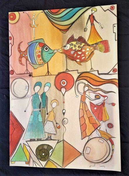 Fantasie, Rund, Bunt, Fisch, Abstrakt, Figur