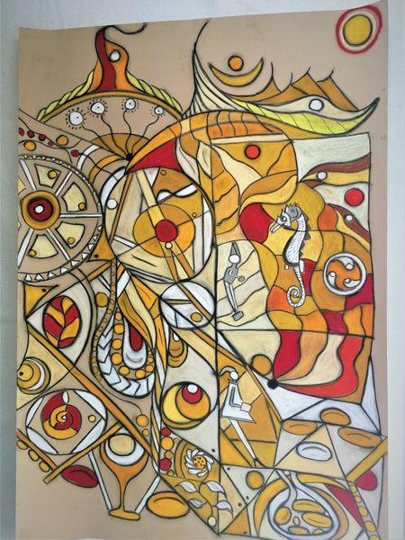 Bunt, Fantasie, Leuchtend, Rund, Abstrakt, Malerei