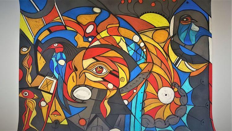 Bunt, Abstrakt, Augen, Fantasie, Vogel, Malerei