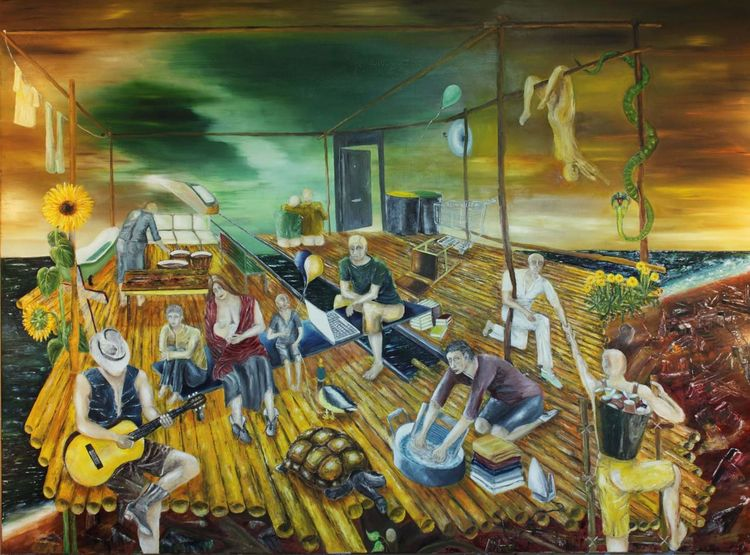 Politik, Gesellschaft, Chaos, Ölmalerei, Umwelt, Malerei