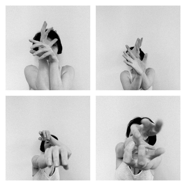 Schwarzweiß, Selfie, Hand, Hände, Bewegung, Frau