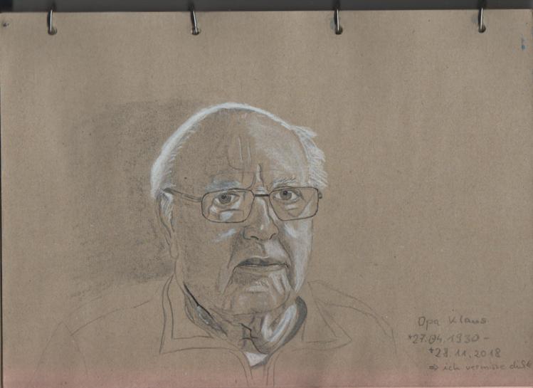 Opa, Grafit, Weiß gehöht, Zeichnungen, Erinnerung,