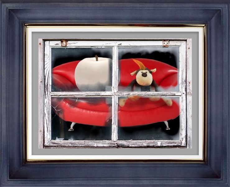 Rot, Couch, Digital, Apfel, Digitale kunst,
