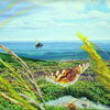 Wiese, Schmetterling, Wolken, Natur