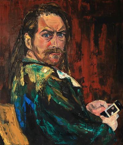 Sitzen, Hodler, Ölmalerei, Zornig, Spachteltechnik, Interpretation