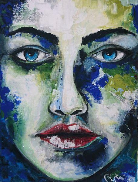 Frau, Blau, Grün, Malerei, Abstrakt