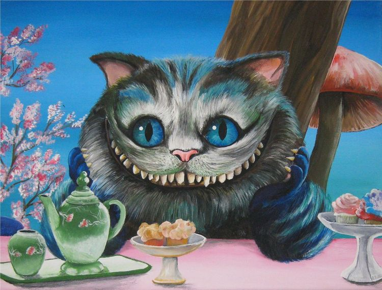 Acrylmalerei, Grinse katze, Alice im wunderland, Malerei, Katze,
