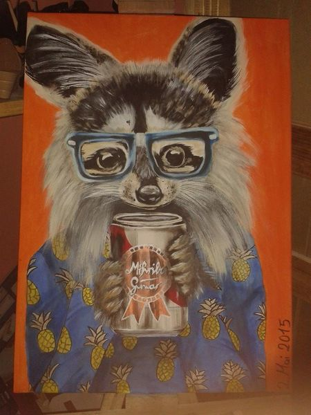 Waschbär, Hipster, Bunt, Malerei