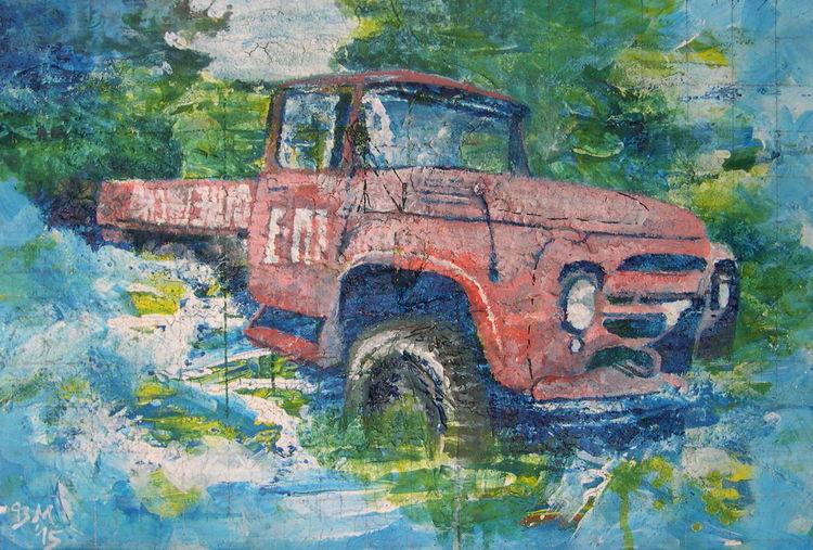 Fahrzeug, Lkw, Sumpf, Wrack, Oldtimer, Malerei