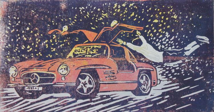 Mercedes benz, Sportwagen, Flügeltürer, Druckgrafik,