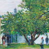 Kirche, Baum, Skyline frankfurt, Malerei