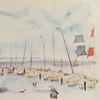 Aquarellmalerei, Insel, Ostsee, Boot