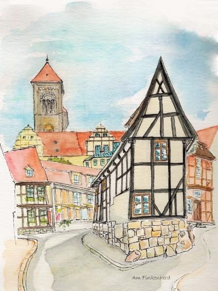 Architektur, Aquarellmalerei, Urban sketching, Baukunst, Quedlinburg, Finkenherd