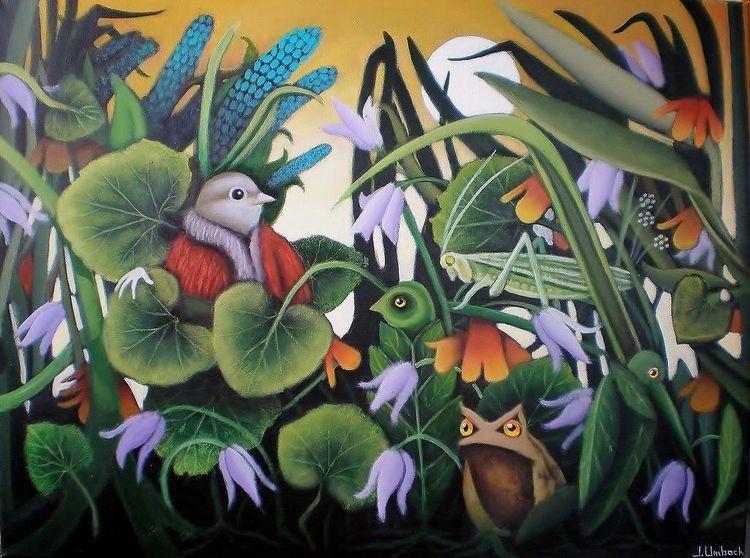 Pflanzen, Frosch, Grille, Gemälde, Natur, Blumen