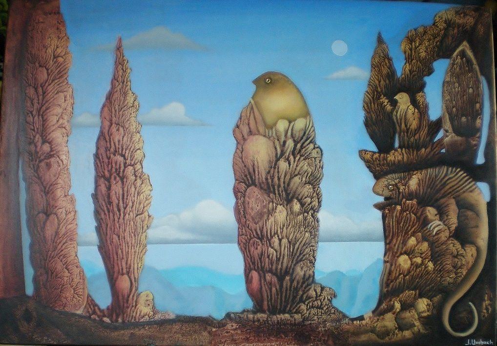 Landschaftsmalerei surrealismus  Bild: Gemälde, Surreal, Décalcomanie, Landschaft von Jens Umbach ...