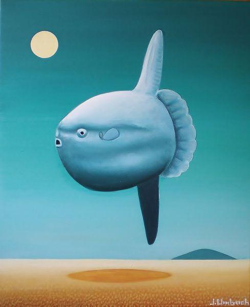 Mondfisch, Nacht, Malerei, Surreal, Mola mola, Mond