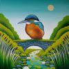 Eisvogel, Fluss, Schilf, Gemälde