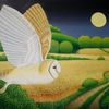 Vogel, Mond, Baum, Weizenfeld