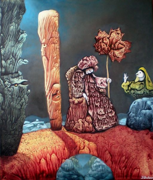 Surreal, Schatten, Landschaft, Säule, Malerei, Felsen