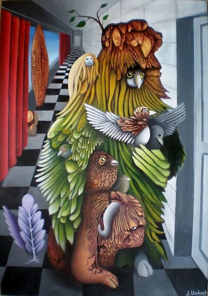 Mischwesen, Foyer, Malerei, Abklatschtechnik, Surreal, Vogel