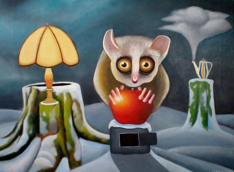 Schnee, Surreal, Malerei, Gemälde, Landschaft, Apfel