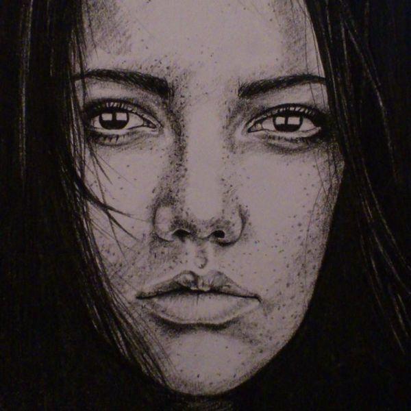 Kohlezeichnung, Schwarz weiß, Portrait, Zeichnung, Frau, Mädchen