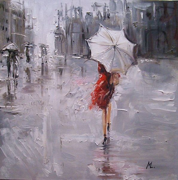 Straße, Ölmalerei, Die regen, Malerei, Regen,