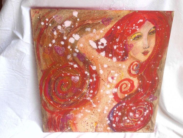 Mixed media, Pastellmalerei, Natur, Frau, Leben, Mixed
