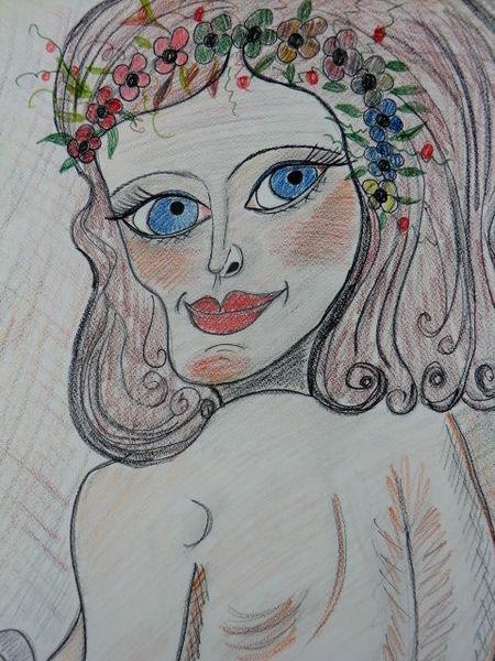 Besinnlichkeit, Mädel, Jung, Weiblichkeit, Malerei, Blumen