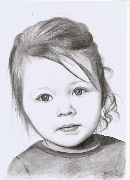 Niedlich, Kind, Blond, Bleistiftzeichnung, Mädchen, Zeichnungen