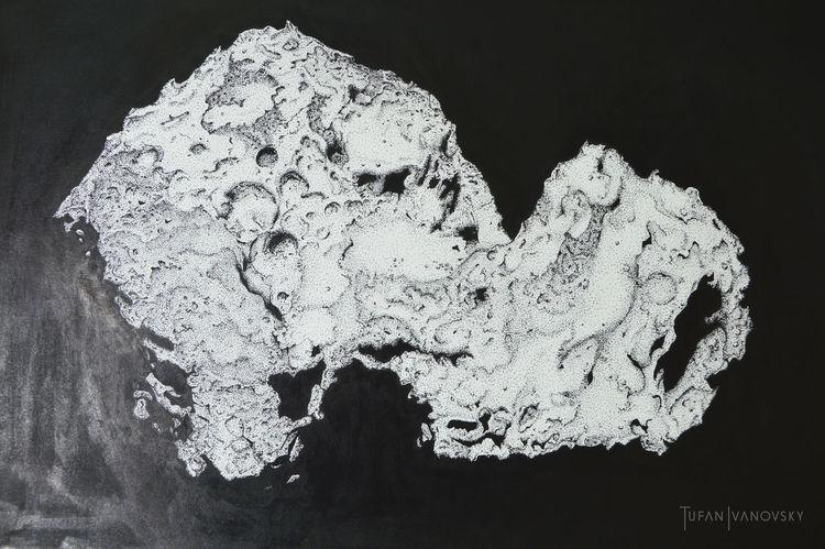 Weltall, Komet, Nasa, Tuschmalerei, Chury, Zeichnung