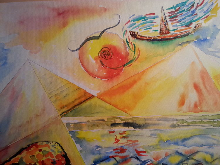 Aquarellmalerei, Mythologie, Traum, Surreal, Sonne, Aquarell