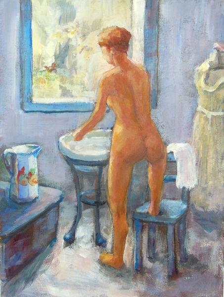 Frau, Akt, Sommer, Schönheit, Rücken, Badezimmer