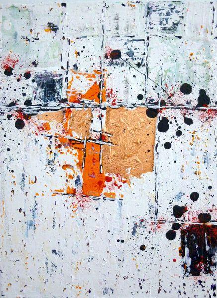 Grau, Kupfer, Malerei, Gold, Marmormehl, Abstrakt