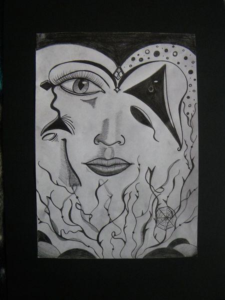 Kontrast, Bleistiftzeichnung, Frau, Portrait, Abstrakt, Gesicht