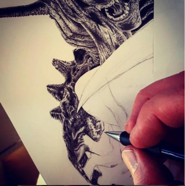 Inarbeit, Alien, Zeichnung, Bleistiftzeichnung, Arbeit, Zeichnungen