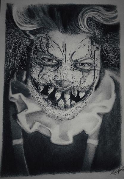 Clown, Horror, Zeichnung, Halloween, Bleistiftzeichnung, Portrait