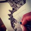 Alien, Zeichnung, Arbeit, Bleistiftzeichnung
