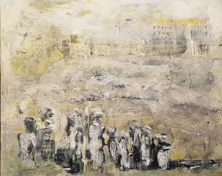 Menschen, Landschaft, Flucht, Malerei, Rückblick