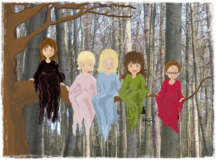 Gemeinschaft, Hexe, Wald, Freunde, Digitale kunst