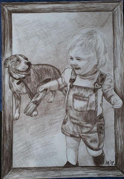 Menschen, Hund, Tiere, Sepia, Kohlezeichnung, Zeichnung