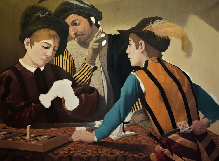 Menschen, Ölmalerei, Blau, Figural, Spiel, Malerei