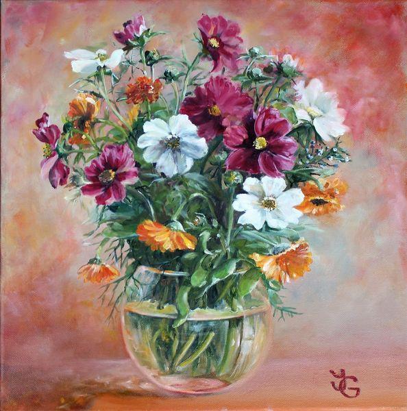 Blumenstrauß, Rosa, Glasvase, Orange, Weiß, Pink