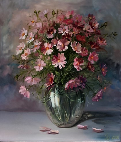 Vase, Rosa, Blumenstrauß, Grün, Tisch, Malerei