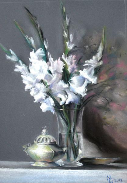 Glasvase, Blumen, Gladiolen, Weiß, Tisch, Malerei