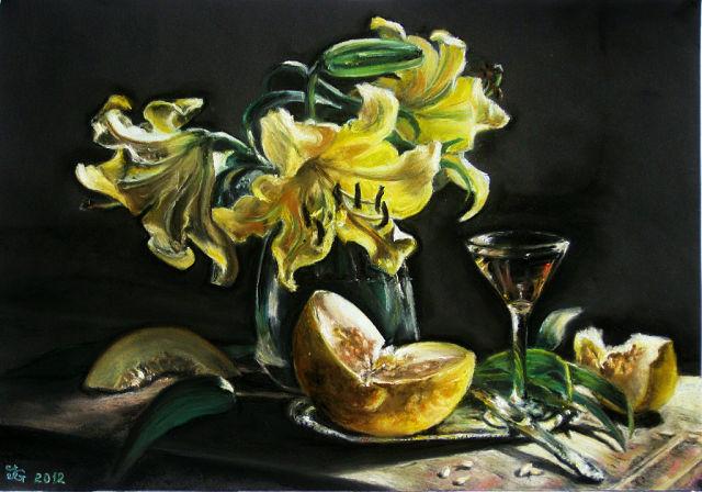 Lilien, Gelb, Tisch, Blumen, Glasvase, Honigmelone